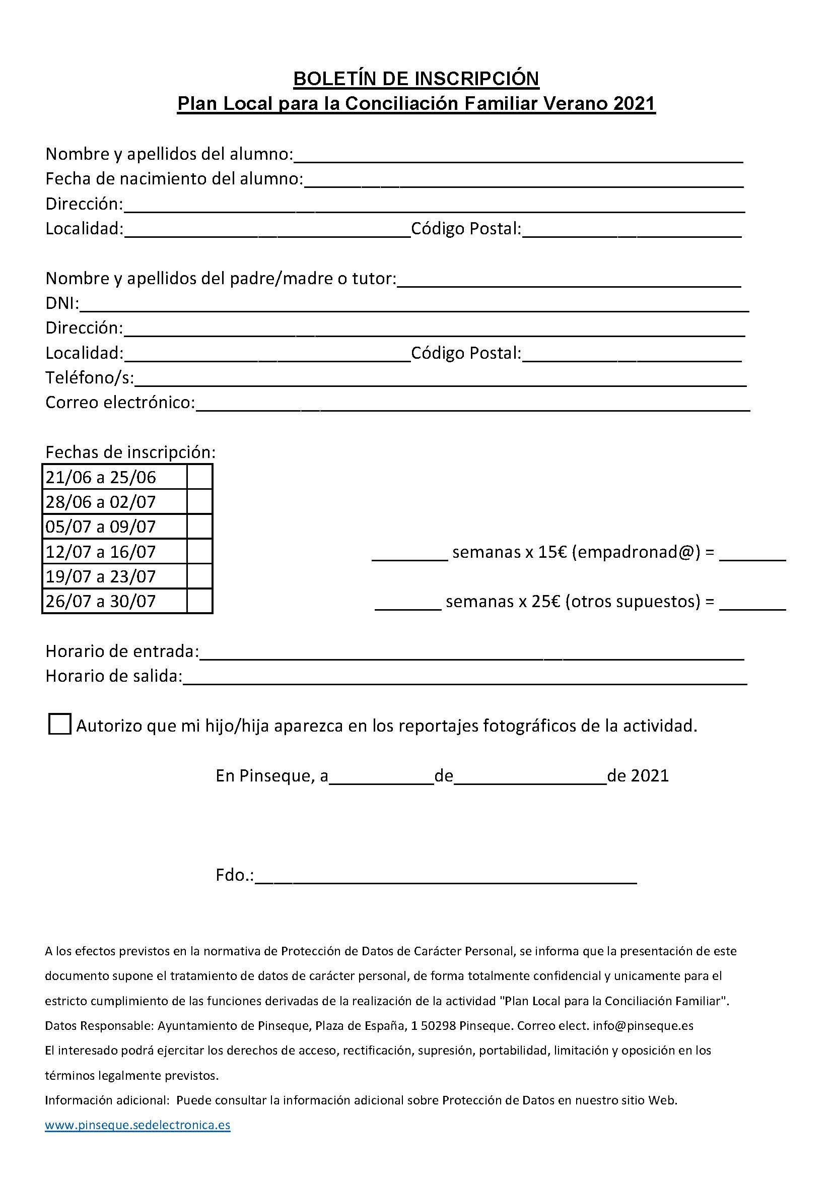 Inscripción Plan Conciliación Familiar Verano 2021