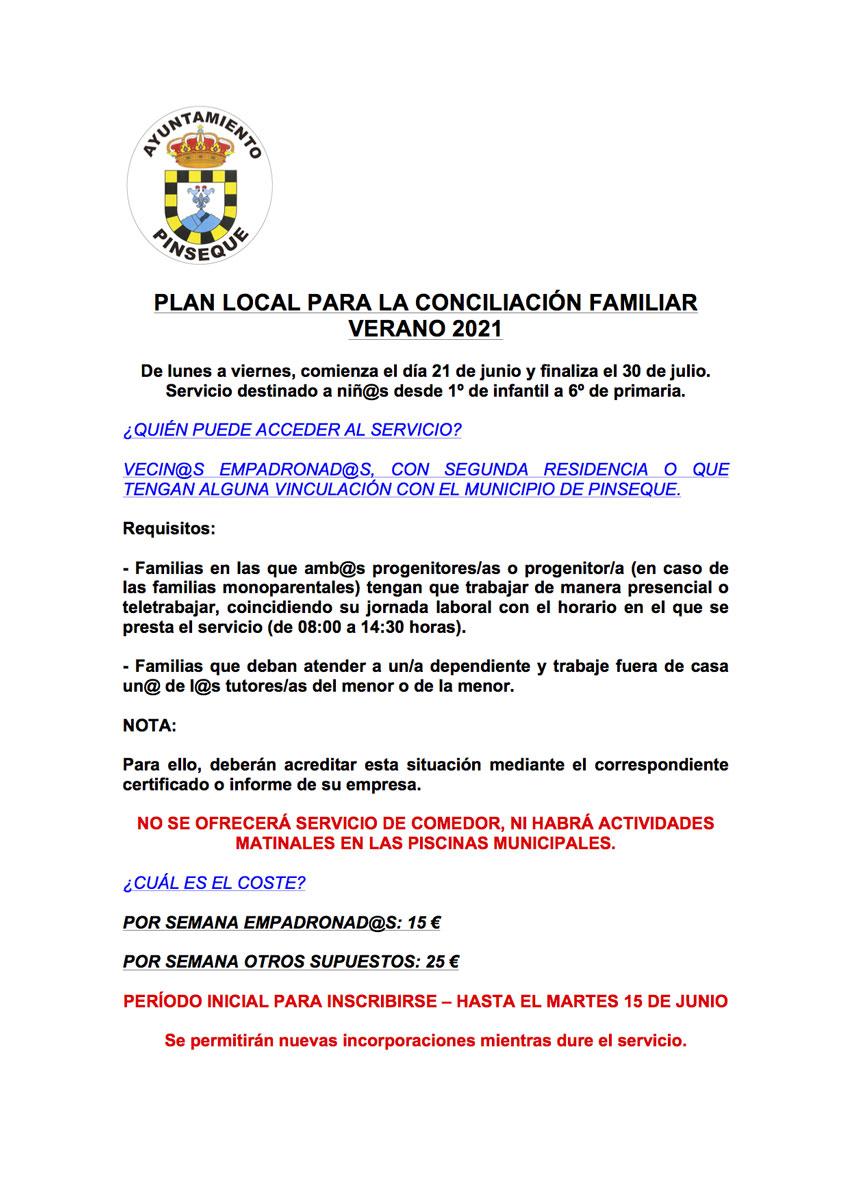 Plan Conciliación Familiar Verano 2021